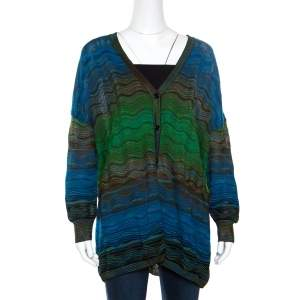 M Missoni Multicolor Patterned Knit Oversized Cardigan M