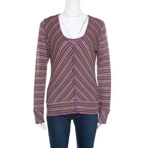 M Missoni Purple Lurex Striped Knit Sleeveless Top and Cardigan Set M