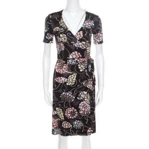 M Missoni Black Printed Silk Jersey Patch Pocket Detail Wrap Dress S