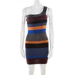 M Missoni Colorblock Striped Lurex Knit One Shoulder Bodycon Dress S