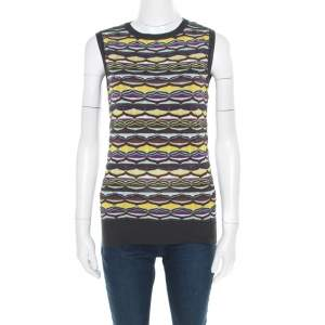 M Missoni Multicolor Patterned Jacquard Knot Sleeveless Top S