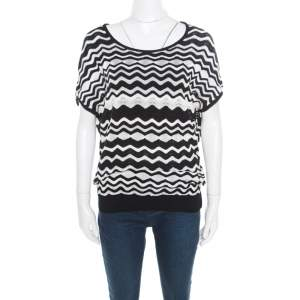 M Missoni Monochrome Wave Pattern Jacquard Perforated Knit Top M