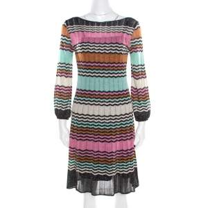 M Missoni Multicolor Lurex Chevron Patterned Knit Neck Tie Detail Dress M