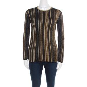 M Missoni Multicolor Striped Chunky Lurex Knit Crew Neck Sweater S