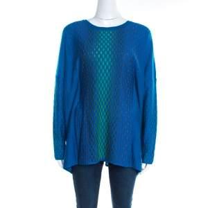 M Missoni Blue Jacquard Rib Knit Dash Pattern Oversized Pullover M
