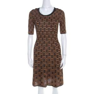 M Missoni Black and Gold Textured Lurex Knit A Line Dress S