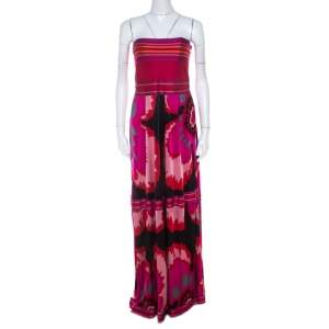 M Missoni Multicolor Printed Jersey Strapless Maxi Dress M