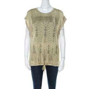 M Missoni Gold Lurex Knit Hem Tie Detail Sleeveless Top M