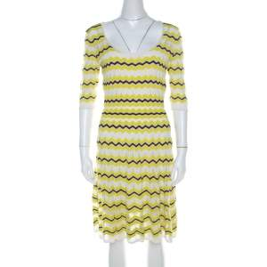 M Missoni Lime Green Chevron Patterned Knit Skater Dress M
