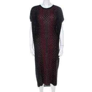 M Missoni Black Patterned Dobby Knit Oversized Dress XS