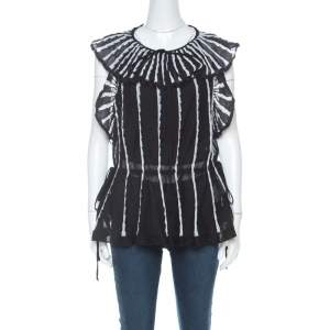 M Missoni Black & White Stripe Knit Peplum Top M