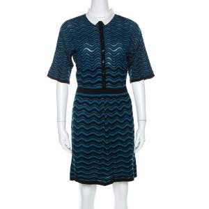 M Missoni Blue & Black Wave Patterned Knit Detachable Collar Short Sleeve Dress M