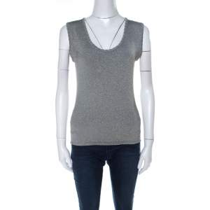 M Missoni Grey and Gold Lurex Knit Sleeveless Top M