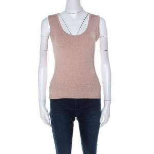 M Missoni Blush Pink and Gold Lurex Knit Sleeveless Top M