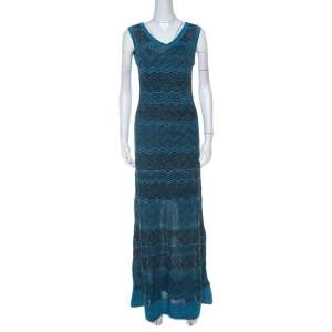 M Missoni Blue & Black Chevron Crochet Knit Lurex Sleeveless Dress M