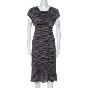 M Missoni Multicolor Striped Knit Short Sleeve Midi Dress L