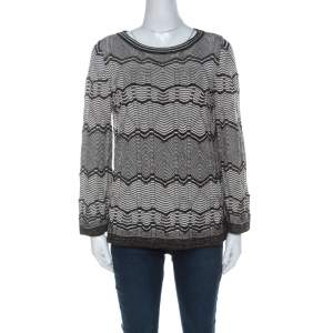 M Missoni Monochrome & Lurex Chevron Knit Long Sleeve Top M