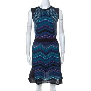 M Missoni Multicolor Paneled Knit Cap Sleeve Short Dress M