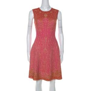 M Missoni Pink & Red Metallic Jacquard Knit Detail Sleeveless Short Dress M