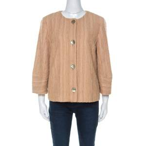M Missoni Beige Silk Blend Boucle Knit Three Quarter Sleeve Jacket L