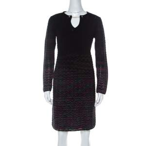 M Missoni Multicolor Ombre Pattern Knit Long Sleeve Dress M