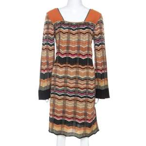 M Missoni Multicolor Chevron Knit Wool Blend Dress L