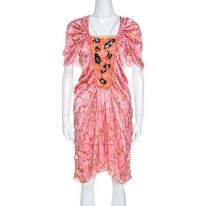 M MIssoni Pink Printed Silk Embellished Bodice Ruched Detail Dress M