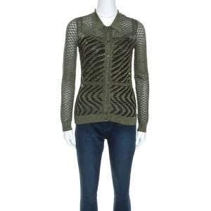 M Missoni Green Crochet Knit Metallic Weave Collared Cardigan S