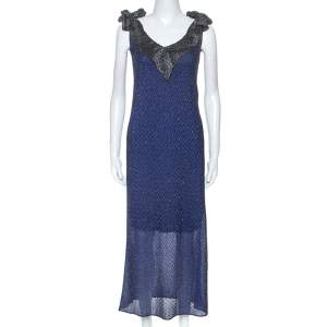 M Missioni Blue Metallic Knit Tie Shoulder Detail Maxi Dress S