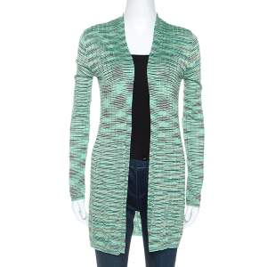 M Missoni Mint Green Striped Knit Open Front Cardigan M