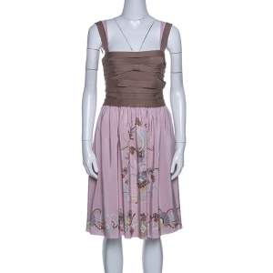 M Missoni Pink And Beige Silk Sleeveless Dress M