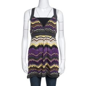 M Missoni Multicolor Chevron Crochet Knit Sleeveless Top L