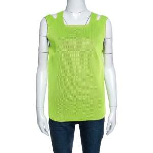 M Missoni Neon Green Mesh Knit Sleeveless Tank Top M