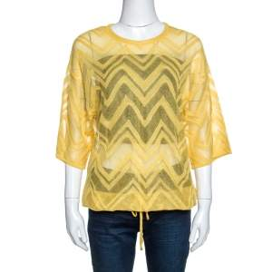 M Missoni Yellow Chevron Knit Drawstring Hem Detail Top M