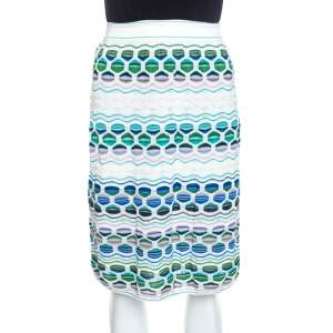 M Missoni Multicolor Textured Knit Midi Skirt M