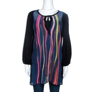 M Missoni Black Knit Stripe Panelled Tunic Top M