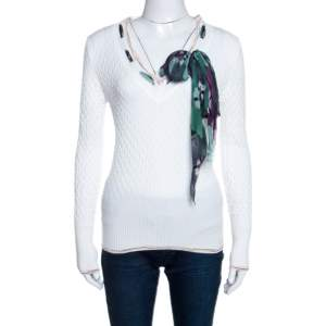M Missoni White Textured Knit Scarf Detail Top S