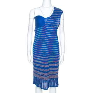 M Missoni Blue Chevron Knit One Shoulder Midi Dress M