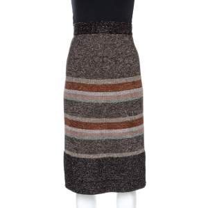 M Missoni Metallic Striped Knit Midi Skirt M
