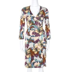 M Missoni Multicolor Floral Print Silk Wrap Dress M