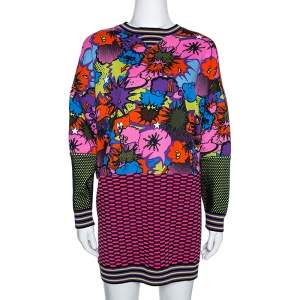 M Missoni Multicolor Pop Art Print Rib Knit Sweater Dress S