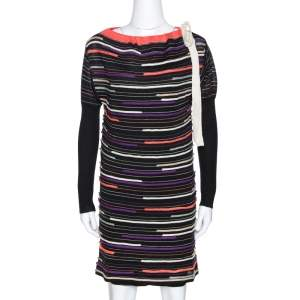 M Missoni Black Embossed Stripe Lurex Wool Knit Mini Dress S
