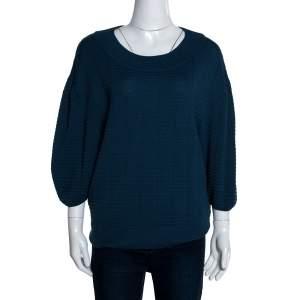 M Missoni Blue Textured Knit Balloon Sleeve Top S