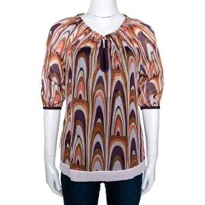 M Missoni Multicolor Printed Cotton Ruched Neckline Blouse M