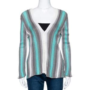 M Missoni Teal & Grey Striped Lurex Knit Button Front Cardigan L