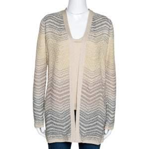 M Missoni Cream Lurex Pointelle Knit Top and Cardigan Set M