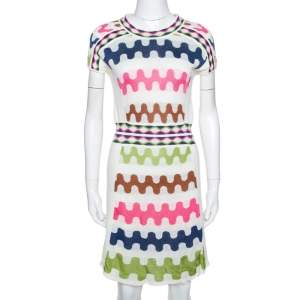M Missoni Off White Wavy Patterned Linen Blend Knit Dress M