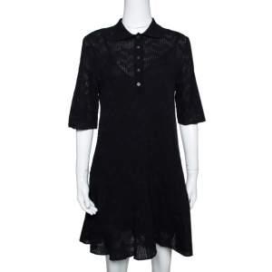 M Missoni Black Textured Wool Blend Knit A Line Dress S