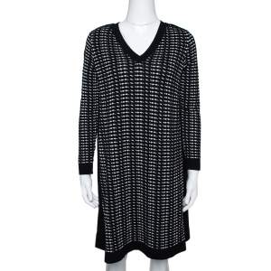 M Missoni Monochrome Textured Knit Shift Dress S