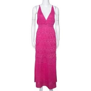 M Missoni Pink Zig Zag Lurex Knit Sleeveless Maxi Dress L